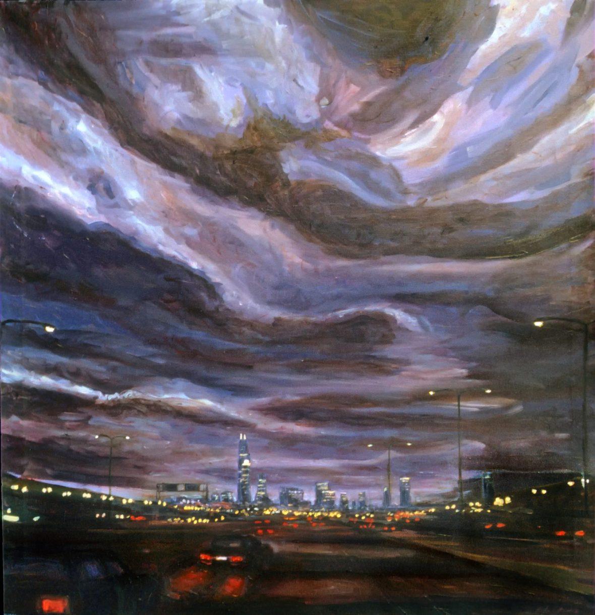 Approaching Chicago at Nightfall